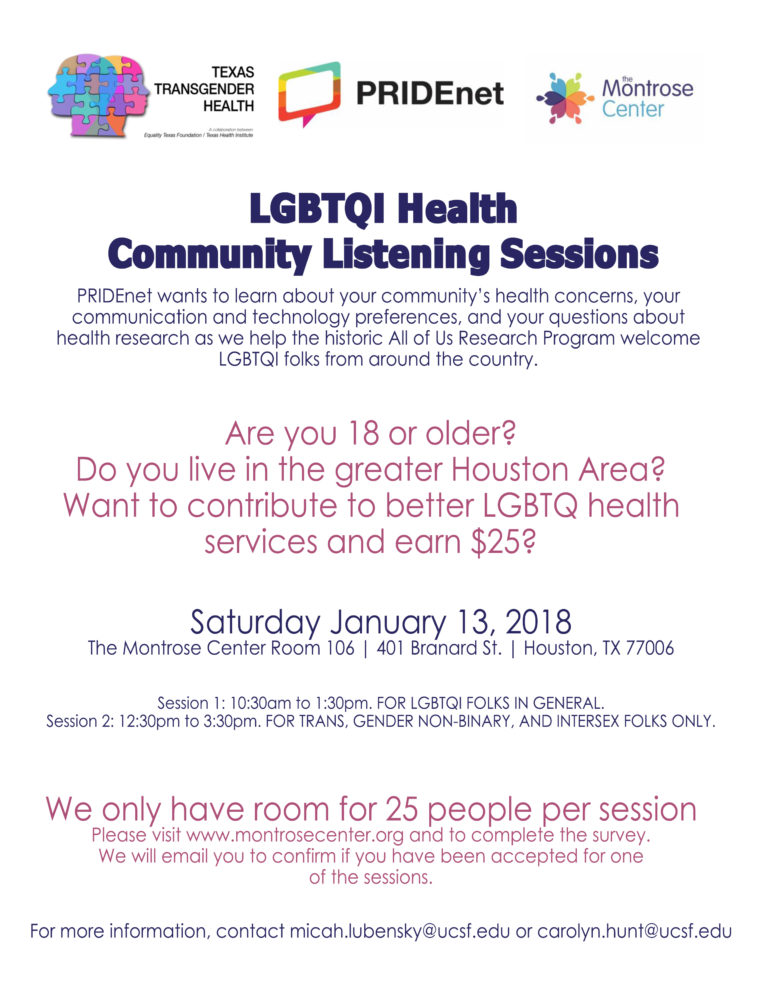 LGBTQI Health Community Listening Session Pridenet